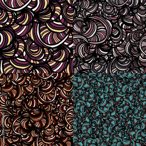 Set of four seamless doodle patterns