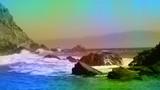 California beach ocean waves crashing Animated color overlay