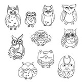Doodle owls set. Vector bird collection.