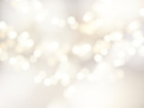 Fototapety Vector bokeh background. Festive defocused white lights. Abstract blurred illustration.