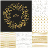 Golden floral wreath and seamless patterns collection