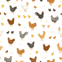 Chickens and chicks seamless pattern