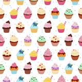 Fototapety Yummy cupcakes seamless pattern