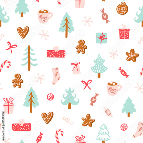 Cotton fabric Winter holidays symbols seamless pattern