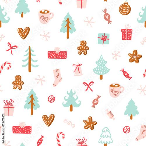 Materiał do szycia Winter holidays symbols seamless pattern