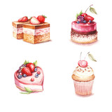 Set of different varieties of cakes. Watercolor illustration.