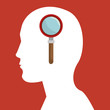human head profile with magnifying glass icon over red background. vector illustration