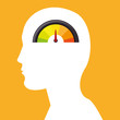 human head profile with  speedometer icon over yellow background. vector illustration