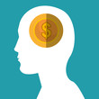 human head profile with gold money coin icon over blue background. vector illustration