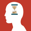 human head profile with sandclock icon over red background. vector illustration