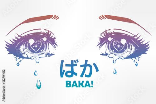 Crying eyes in anime or manga style. - 122704012