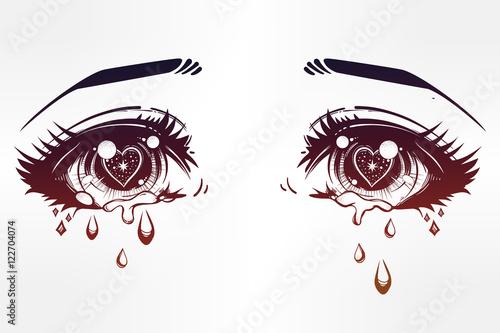 Crying eyes in anime or manga style. - 122704074