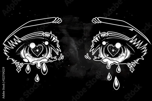 Crying eyes in anime or manga style. - 122704229
