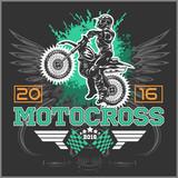 Fototapety Extreme motocross. Emblem, t-shirt design.
