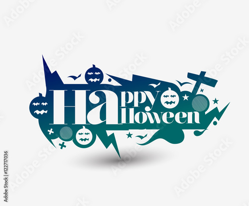 Aluminium Positive Typography Happy Halloween Background