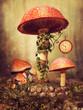 Baśniowe grzyby z zegarem i bluszczem