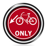 Bicycle lane sign icon on red  button illustration