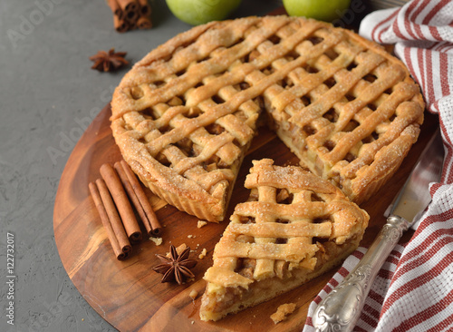 Plagát Apple pie with cinnamon