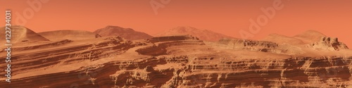 Poster Koraal panorama of the Martian landscape. mountains on Mars.