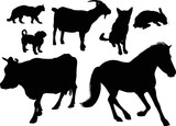 seven isolated black farm animals collection