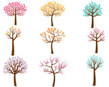 Fototapety Vector Set of Colorful Cartoon Trees