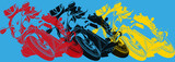 Pop art,  moto prenant une courbe - 122750420