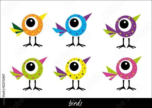 bajkowe, kolorowe ptaszki
