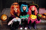 Witches with jack-o-lanterns
