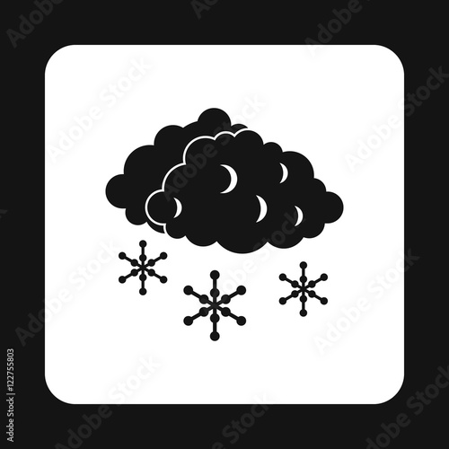 Clouds and snow icon in simple style isolated on white background. Weather symbol vector illustration
