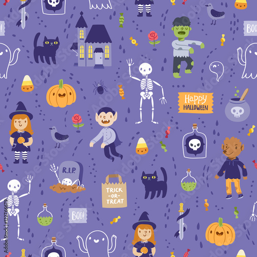 Cotton fabric Purple halloween seamless super pattern