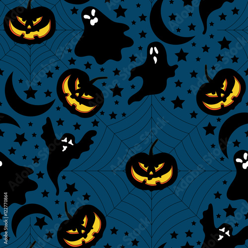 Cotton fabric Halloween pattern with pumpkin,ghost and stars.Halloween background