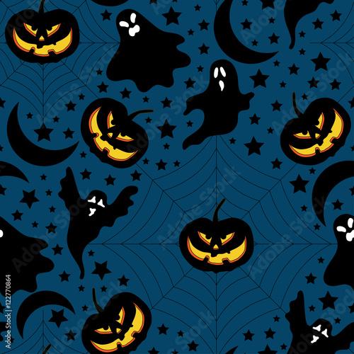 Materiał do szycia Halloween pattern with pumpkin,ghost and stars.Halloween background