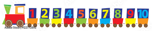 cartoon train with numbers 1-10/ educational vector illustration for children