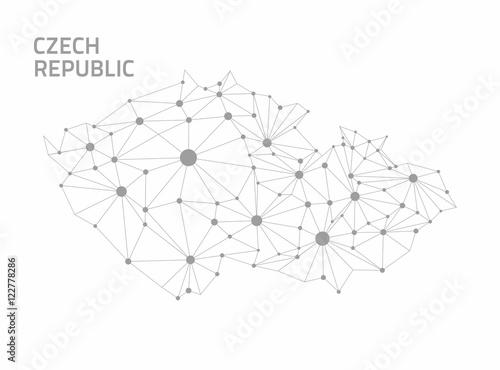 Czech republic grey contour dot modern 3d map Poster