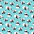 Panda bear vector background. Seamless pattern with cartoon panda.  - 122790894