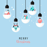 Modern Christmas card flat  stylish design. Creative design with
