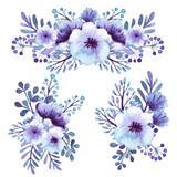 Set Of Watercolor Light Violet Flowers Bouquets - 122804252
