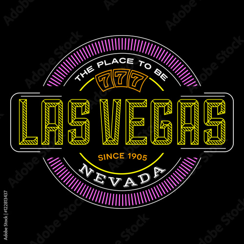 Poster las vegas, nevada linear logo design for t shirts and stickers