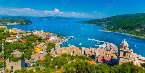 Aluminium Panoramic view over Portovenere harbor village, Cinque Terre National Park, Liguria, Italy