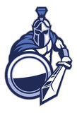 spartan mascot with shield and the sword