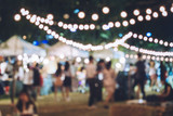 Fototapety Festival Event Party with Hipster People Blurred Background