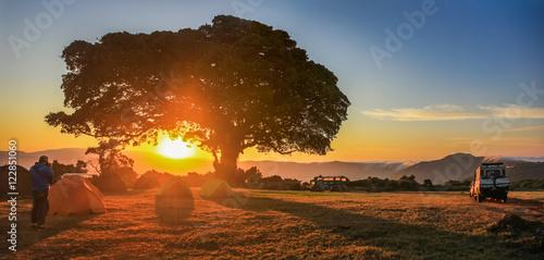 Fotobehang Baobab Coucher de soleil de safari en Tanzanie, Afrique