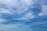 Natural blue feathery sky with Cirrus Clouds formation