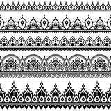 Mehndi, Indian Henna tattoo seamless pattern, design elements - 122856084