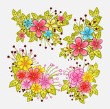 Colorful Flowers Decorative Elements