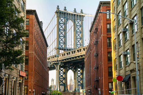 Poster New York manhattan bridge and brooklyn neighborhood
