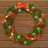 Vector Christmas Wreath on Wooden Board 7