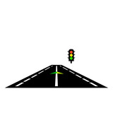 Highway road with traffic lights