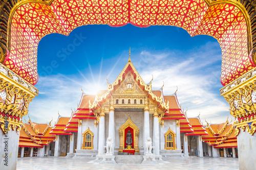 Poster Marble Temple, Wat Benchamabophit Dusitvanaram in Bangkok, Thailand