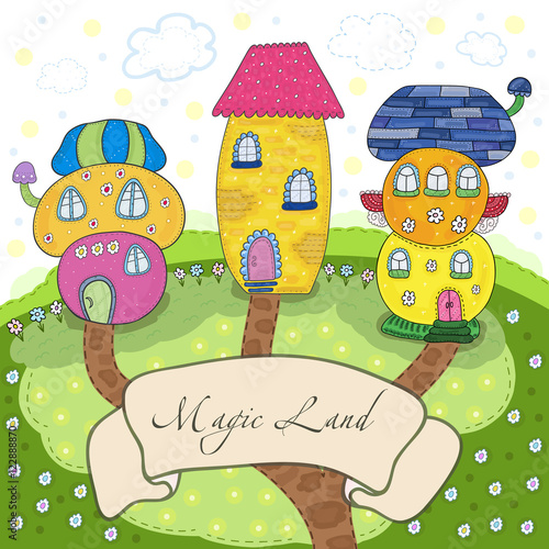 Foto op Aluminium Kasteel Fairytale colorful cute houses in cartoon style. Magic land. Vector hand drawn illustration. Printable template.